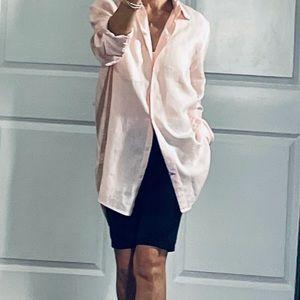 Gap Pink Linen Oversized Boyfriend Fit Shirt S